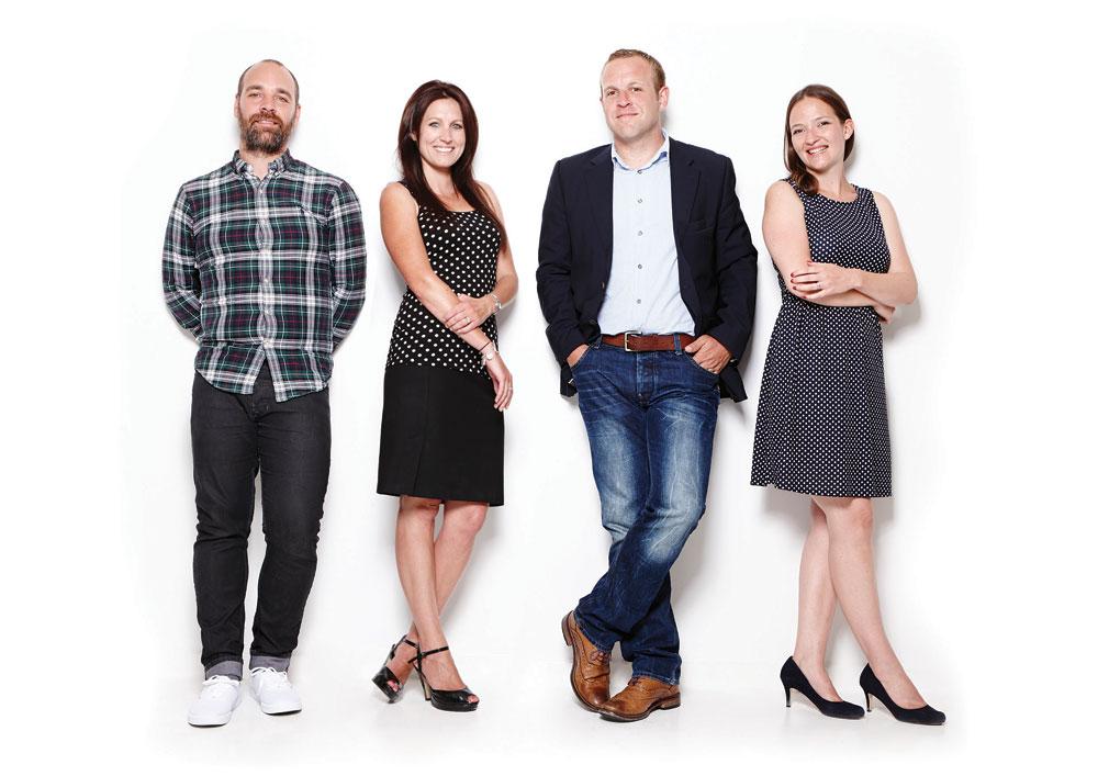 New Oi management team (Left to right) Ben Clarke, Creative Director, Katie Sebire, Guernsey Director, Peter Grange, Managing Director, Heather Townsend, Jersey Director.